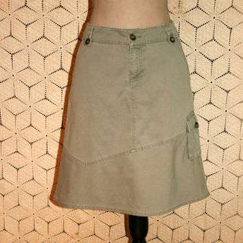 Army Green Cargo Skirt Olive Drab Cotton Skirt Casual Skirt Aline Women Skirts Hipster Banana Republic Size 8 Skirt Medium Womens Clothing
