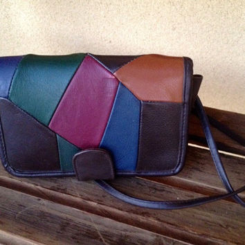 80's Crossbody Bag Purse Patchwork Leather Crossbody Bag, Color Block Handbag, Hipster Purse, 80's Handbag, 80's Fashion, Geometric
