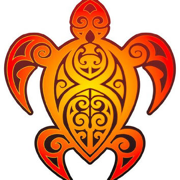 Tribal Turtle - Hawaiian Art Decal - Car Window Bumper Sticker