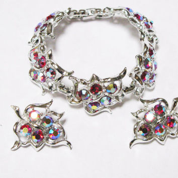 Vintage Red Bracelet & Earrings Set - Signed Sarah Coventry - Red Aurora Borealis - Silver Tone