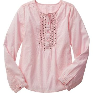 Gap Girls Factory Pintuck Popover Shirt