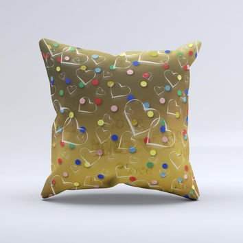 Gold Hearts and Confetti Pattern ink-Fuzed Decorative Throw Pillow