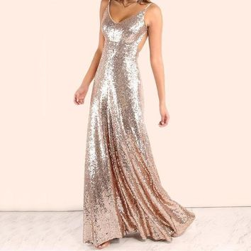 Rose Gold Sequin Party Maxi Dress Sexy Backless Slip Long Dresses Women Empire Elegant A Line Club Dress