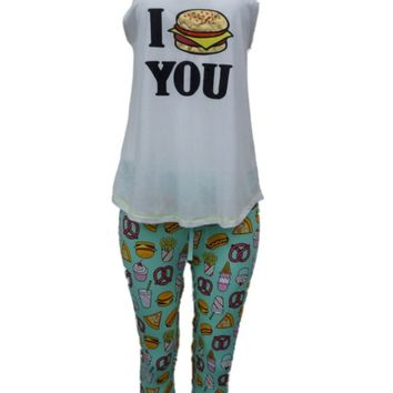 Joe Boxer Womens I Hamburger You Pajamas Capri Leggings & Tank Top Sleep Set