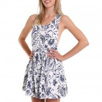 Floral Print Fit & Flare Dress with Cross Back Detail