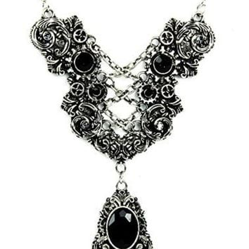 ac spbest Silver Corset Chain Lace Victorian Pendant Necklace with Black Stones