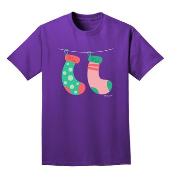Cute Mr and Mr Christmas Couple Stockings Adult Dark T-Shirt by TooLoud