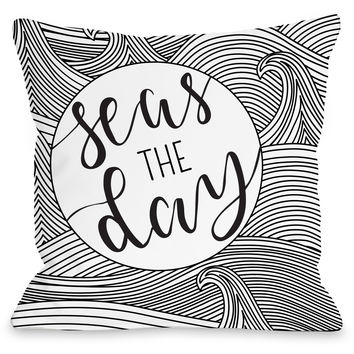"""Seas The Day"" Outdoor Throw Pillow by OneBellaCasa, Black/White, 16""x16"""