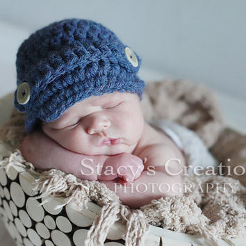 Newsboy Hat Baby Hat Newborn Hat Crochet Baby Hat by Monarchdancer