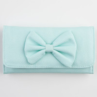 Faux Leather Bow Wallet Mint One Size For Women 22866652301