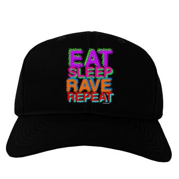 Eat Sleep Rave Repeat Color Adult Dark Baseball Cap Hat by TooLoud