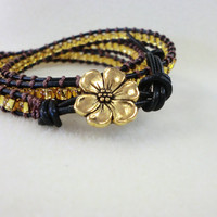 Gold flower with Gold on Black