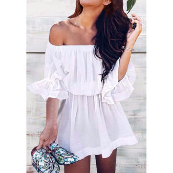 Sexy Fashion Women Summer Dress Off The Shoulder Ruffle Dresses Bohemian Butterfly Sleeve Beach Mini Dress LJ8628X