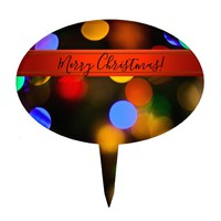 Multicolored Christmas lights. Add text or name. Cake Topper
