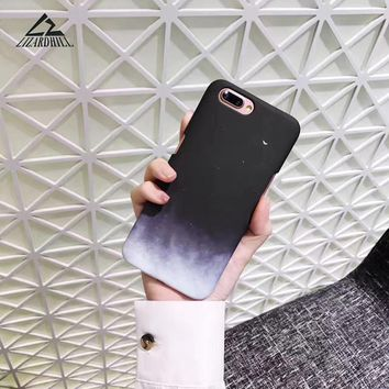 Lizardhill Fashion Star Sky Phone Cases For iphone 6 Gradient Moon Hard Matte plastic Covers For iphone 6S 7 7Plus 8 plus Fundas