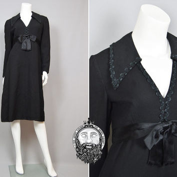 Vintage 70s MOLLIE PARNIS Little Black Dress LBD Evening Medium Midi Dress Satin Ribbon Designer Dress Molly Paris 1970s Crepe Womens M