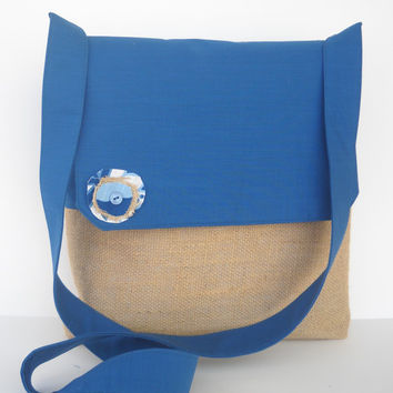 Messenger Bag in Indigo Blue and Burlap by jazzygeminis on Etsy