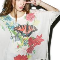 Wildfox Couture Floral Butterfly Sunny Morning Tee Multi