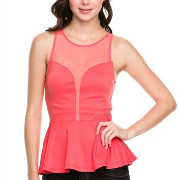 Mesh Front & Back Sleeveless Cropped Frill Fitted Peplum Top