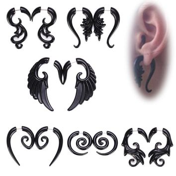 New Cool Black Ear Cuff Earrings for Women Men Dragon Wings Clouds Double Side Piercing Earring for Women Jewelry 2018