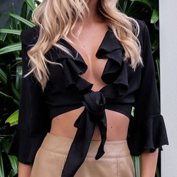 Black Plunge Ruffle Trim 3/4 Sleeve Tie Front Crop Top