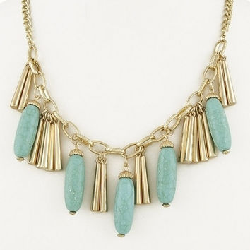 Chunky Tassels & Stone Necklace - Turquoise
