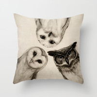 The Owl's 3 Throw Pillow by Isaiah K. Stephens