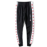 Champion New fashion embroidery letter string mark print couple leisure pants Black