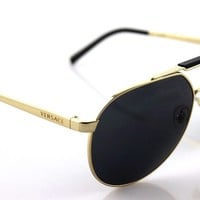NEW Authentic VERSACE Gold Black Grey Aviator Greca Sunglasses VE 2155 1002/87