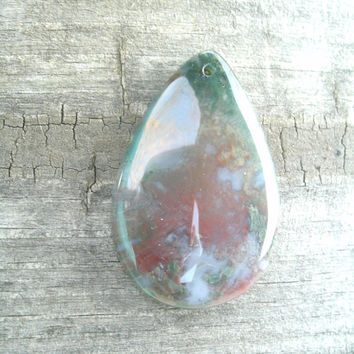 Bloodstone Teardrop Pendant Bead, polished, drilled, DIY jewelry supply, pendant stones, metaphysical,  semi precious,  Chalcedony, Quartz