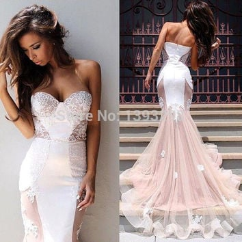 Vestidos Longos Formatura Sexy Sweetheart Applique Lace White Mermaid Prom Dresses 2015 Abendkleider Long Evening Party Dress