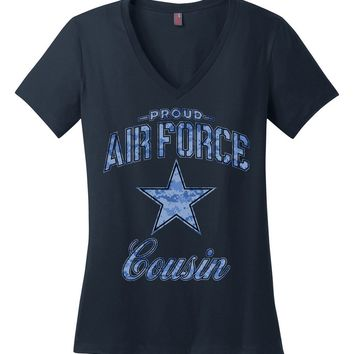 Proud Air Force Cousin Women's V-Neck T-Shirt (Camo)