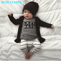Bear Leader 2016 Spring Baby Baby Boys Clothing Sets Cotton Long-sleeved Letter T-shirt+Pants Newborn Baby Girls Clothing Sets