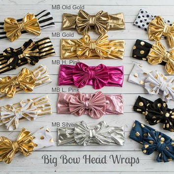 CLEARANCE Baby Headbands,CHOOSE COLOR Girls Head wraps,Messy Bow Baby Head wraps, JerseyHeadwraps, Big Bow Baby Headbands, Knott Headband,