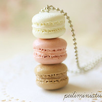 Macaron Jewelry - Trio Macarons Necklace - Nude Pink Macarons - Gift Under 30