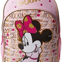 Girl's Minnie Mouse Glam Backpack Padded adjustable shoulder straps