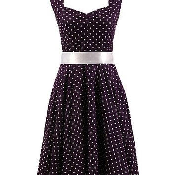 Purple Polka Dot Print Halter Backless Sheath A-Line Mini Skater Skirt