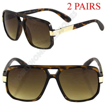 2 PAIR - Mens Classic Vintage Designer Aviator Retro Sunglasses Brown Gold Frame