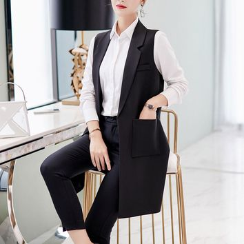 Spring Sleeveless Blazer Vest Office Lady Long Vest Waistcoat Female Women Outwear Jacket Black Pocket Coat