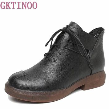New women Genuine Leather Boots Vintage Style Flat Booties Soft Cowhide Women's Shoes side Zip Ankle Boots zapatos mujer T1077
