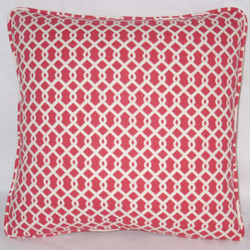 """Strawberry Red Lattice Throw Pillow 17"""" Square Waverly Ellis Cotton Watermelon PInk & White Geometric Modern Ready to Ship Cover and Insert"""