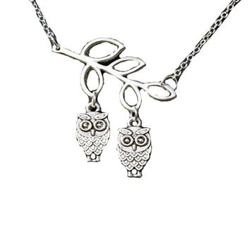 Branch Leaves Bird Owl Love Charm Short Necklace