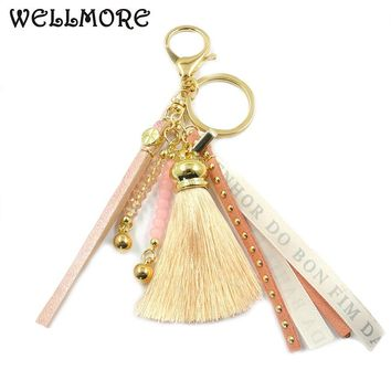 WELLMORE 2017 crystal,tassel,colorful alloy Key Chain For Women Girl Bag Keychain