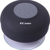 Ecandy Wireless Bluetooth Waterproof Shower Speaker with Dedicated Suction Cup - Retail Packaging (Black)