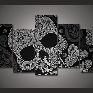 Black And White Skull 5-Piece Wall Art Canvas
