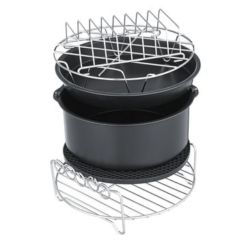 7 6Pcs Set Healthy Air Fryer Accessories Cake Pizza Barbecue Rack Pot Holder Baking Cooling Rack""