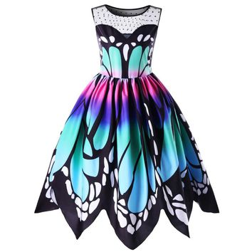 Womens Butterfly Printing Sleeveless Party Dress Vintage Swing Lace Dress