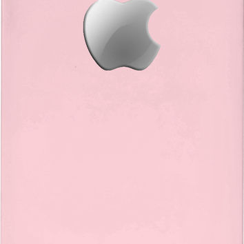 Pastel pink Apple logo iPhone case, cameo powder and platinum color mobile