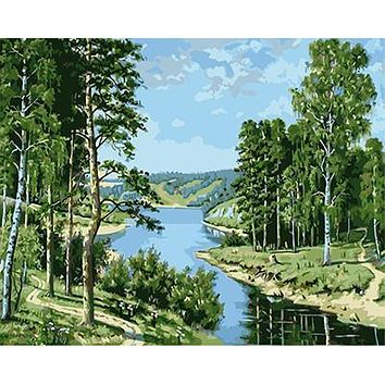 Painting By Numbers No Frame Landscape Pictures Canvas Painting Hand Painted Home Decor Art Work GX3639