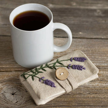 Linen and Cotton Tea Wallet with Hand Embroidered Lavender Flowers, French Country Tea Holder, Gift for Tea Lover